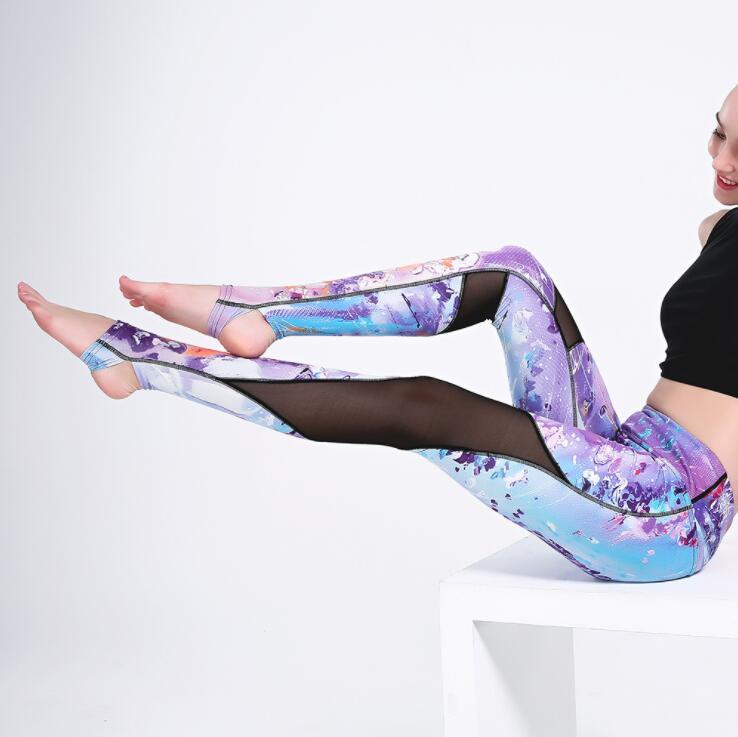 KEENEST S-3XL Women Ballerina Coloful Yoga Pants Leggings High Waist Fitness Cross Ballet Dance Leggings For Women