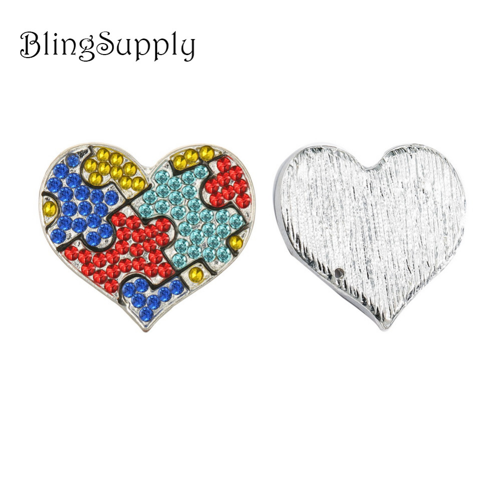 Free shipping 24X21mm Autism rhinestone button for DIY 50PCS LOT BTN 5568