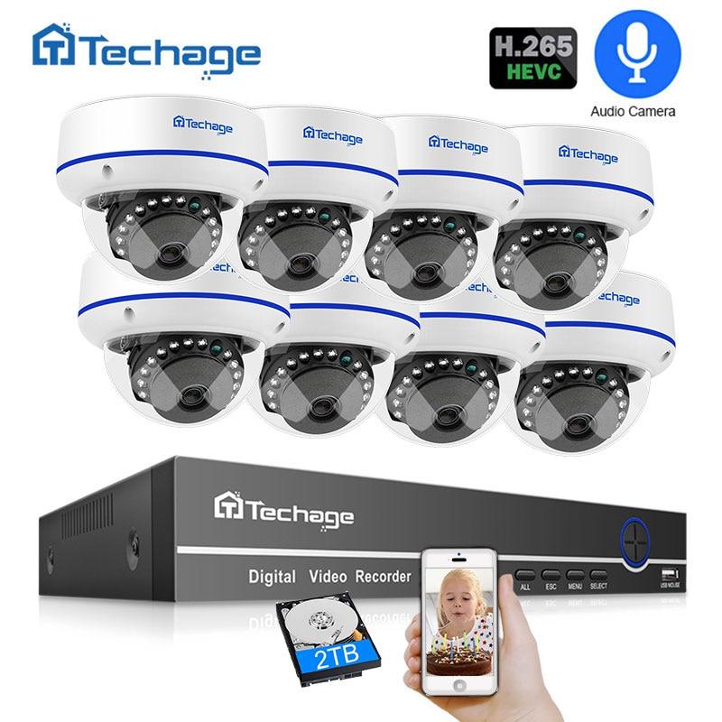 Techage H.265 8CH 2.0MP Kit NVR POE 1080 P CCTV Sistema de Segurança de Áudio Dome Interior Câmera IP POE ONVIF P2P conjunto de Vigilância Por vídeo