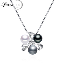Real 925 Silver Pendant With Pearl Women,colorful Natural Freshwater Necklace Girl Birthday Gift