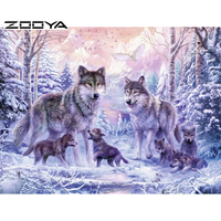 Diy Diamond Painting Animal Diamond Cross Stitch Crystal Square Diamond Sets Unfinish Decorative Diamond Embroidery Wolf