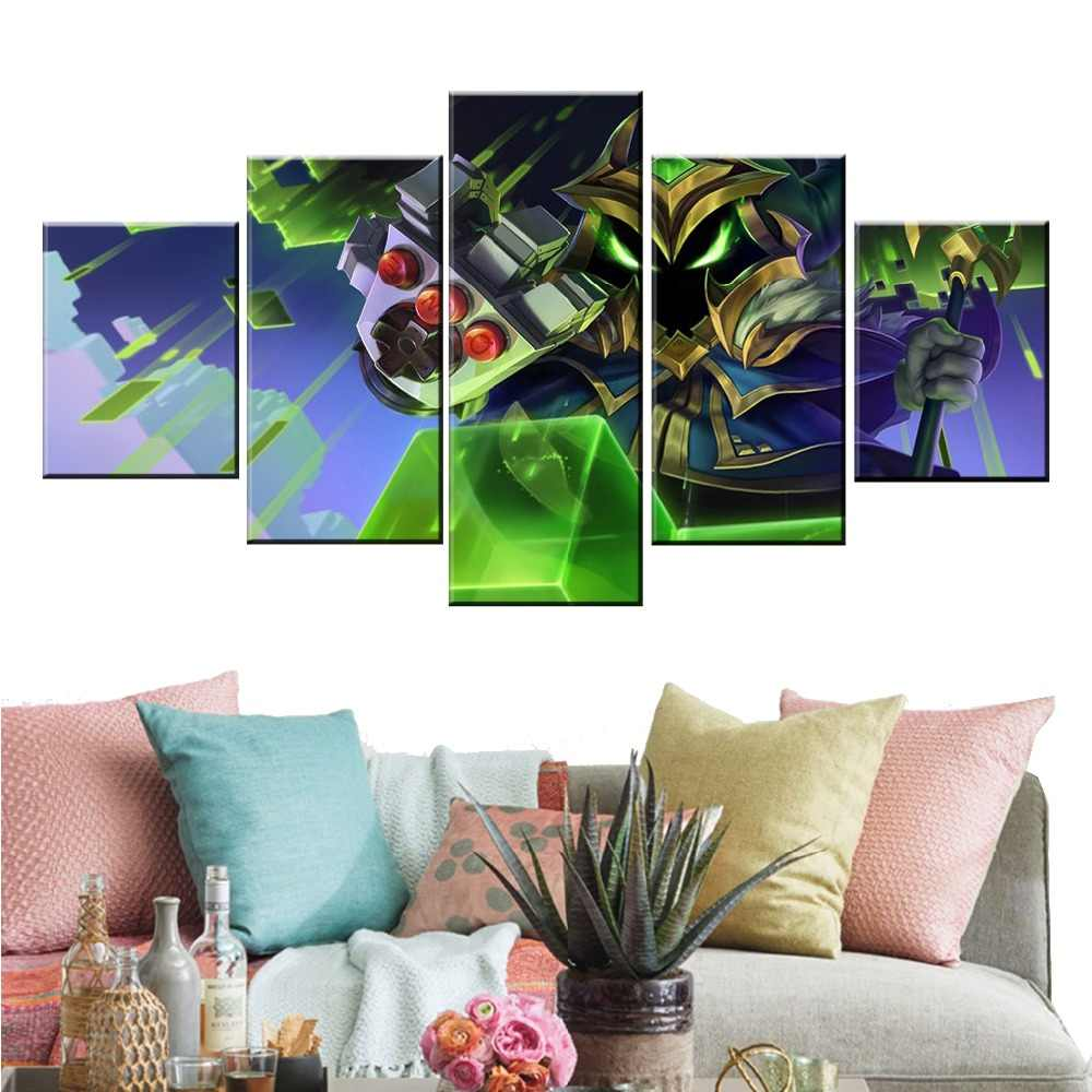 5 Panel LOL League of Legends Veigar Game Canvas Printed Painting For Living Wall Art Home Decor HD Picture Artworks Poster