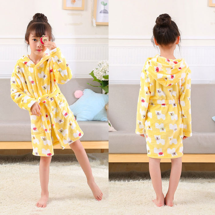 3768b59c74 Children s Bathrobes Kids Hooded Beach Bath Robe baby Sleepwear Boy Girls  Cartoon Bathrobe towel bath winter
