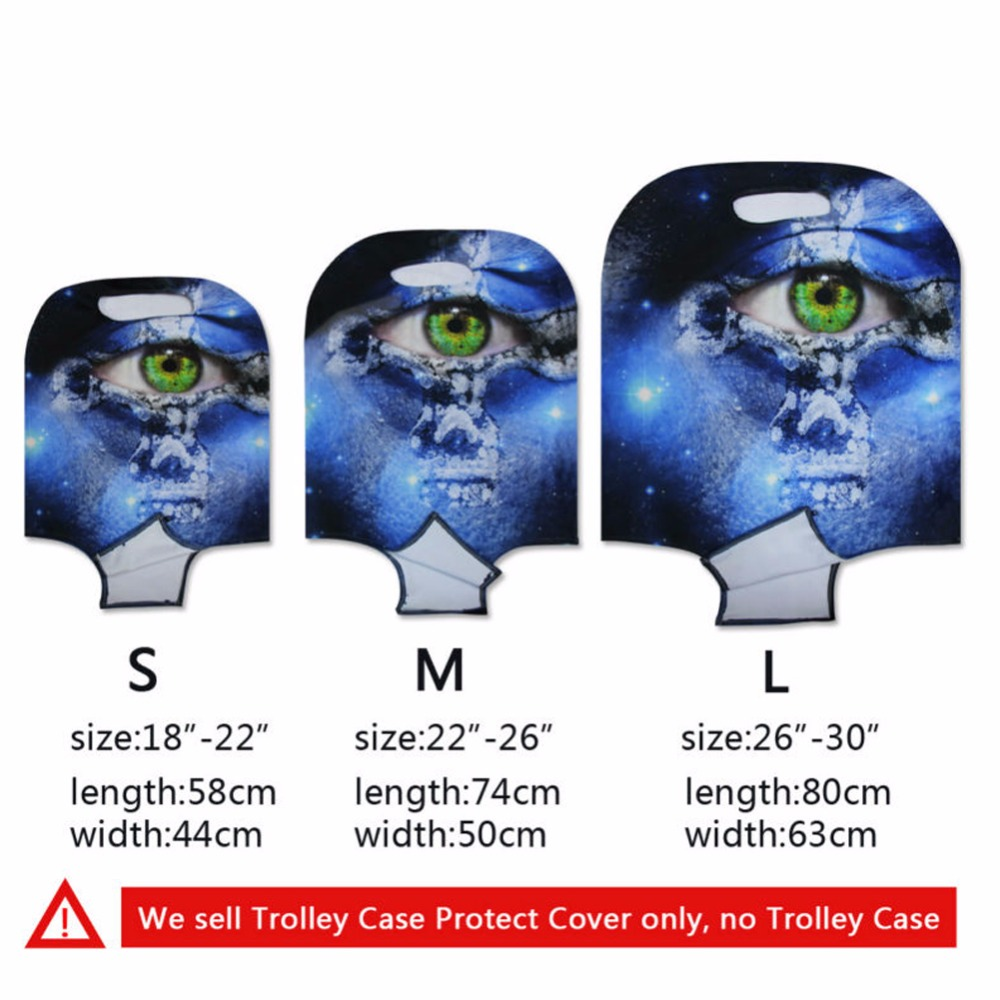 ELVISWORDS Cool Tiger Bule Orange Elastic Suitcase Cover Protective Case for 18-30 inch Trolley Case Protector Bags 3 Size