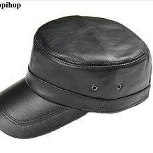 5dbee0ceb019f 2017 genuíno couro de pele chapéu chapéu militar cap cadete boné de  beisebol cap geral chapéu