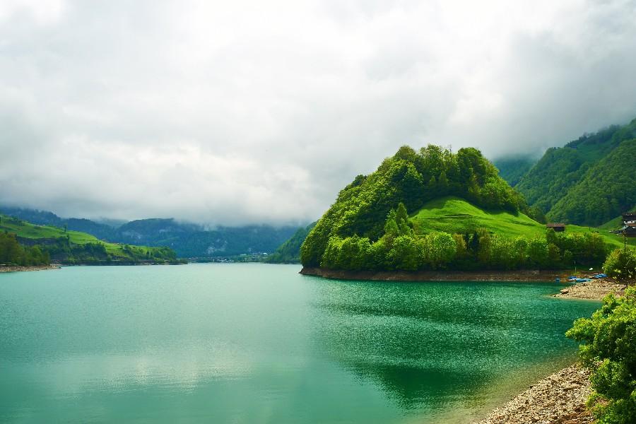 suiza esmeralda mountain lake paisaje hermosa naturaleza pster tela tela de seda cartel de la pared