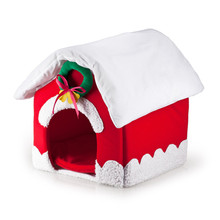 New Fashion Christmas Pet Dog Cat House Bed Washable Dog Kennel Products For Small Pets