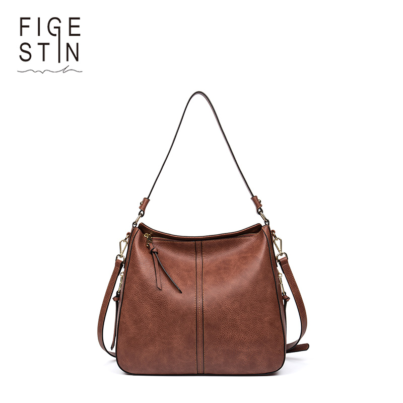 FIGESTIN Women Messenger Bags Leather Brown Women Handbag PU Leather Luxury Handbags Women Bags Designer Shoulder Tote Bag classic black leather tote handbags embossed pu leather women bags shoulder handbags elegant