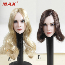лучшая цена 1/6 Scale plant hair European beauty girl head sculpt with long curls Blond brown hair head F 12
