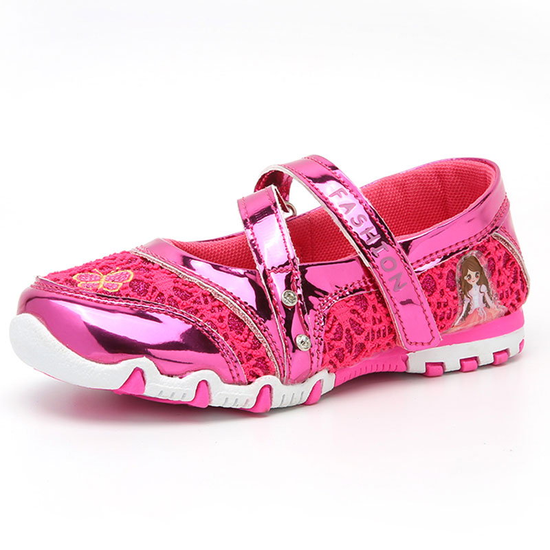 Big Girls Shoes lace dancing and party shoes Rhinestone Fashion Princess Slip on Children Flat Shoes for Girls Shoes Size 26 37