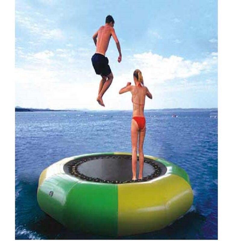 Trampoline d'eau 2 M diamètre 0.6mm PVC trampoline gonflable ou videur gonflable jeu de plein air été parc aquatique jouet d'eau