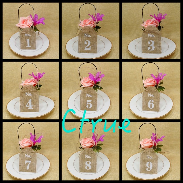 Aliexpress buy 1set10pcs jute hessian burlap table number 1set10pcs jute hessian burlap table number table cards from 1 to10 rustic wedding centerpieces junglespirit Image collections