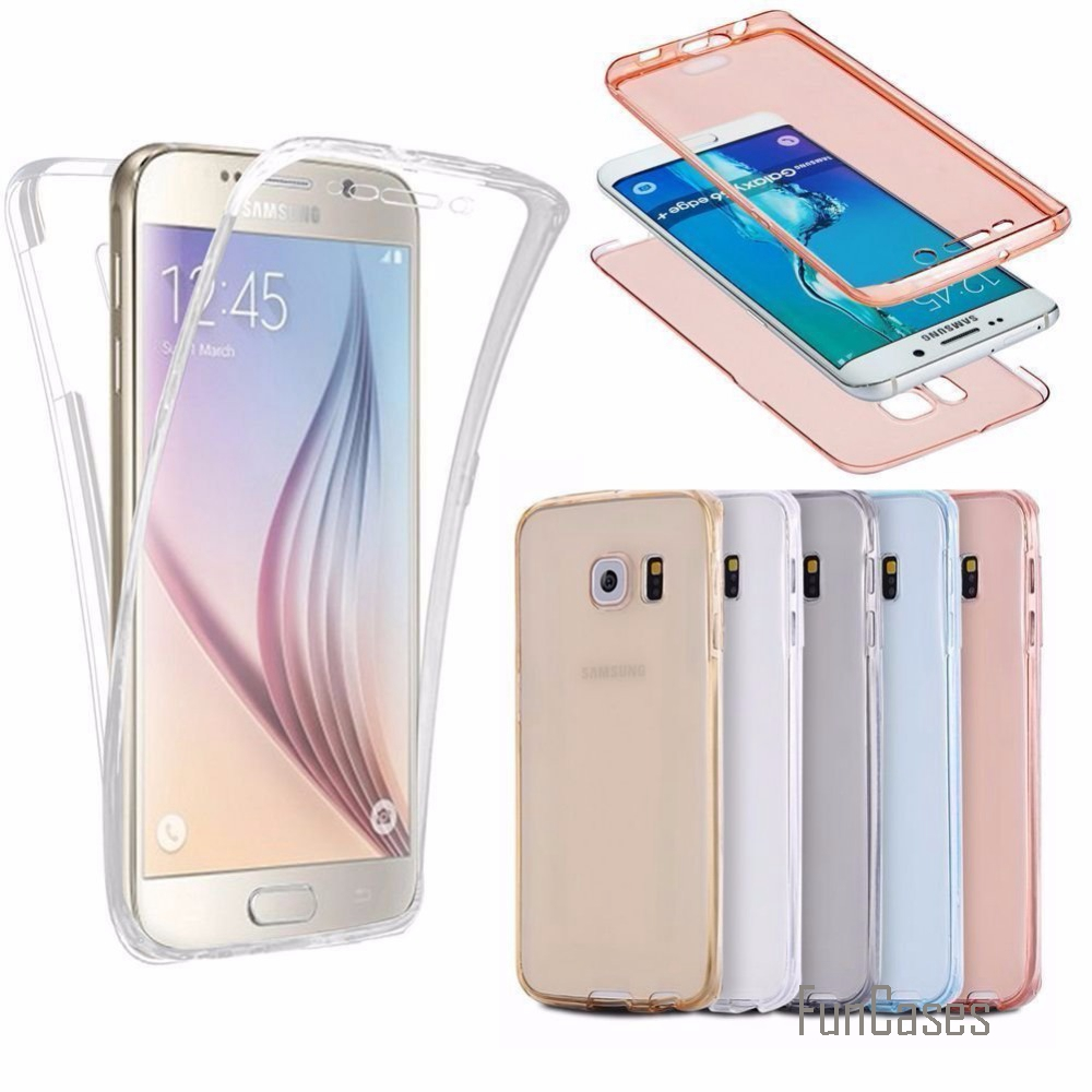 (Front+Back Cover Gel Series), Shockproof TPU 360 degree Protective Clear Crystal Soft C ...