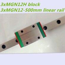 Коссель Мини MGN12 12 мм миниатюрный линейный железнодорожной горкой = 3 шт. 12 мм l-500мм железнодорожных + 3 шт. MGN12H перевозки для Xyz оси 3d-принтер части