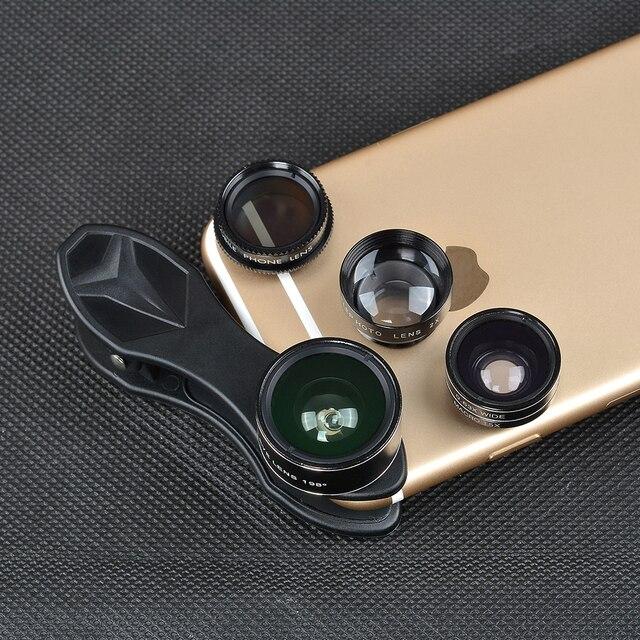 Universal clip 5 in 1 0.63X Wide Angle+Macro+FishEye+2X Telephoto +CPL lens Camera Lens lente para for iPhone 6 plus xiaomi DG5H 4