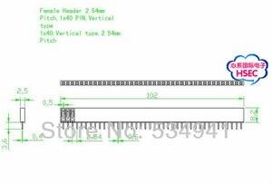 Image 5 - Ücretsiz Kargo Yüksek Kaliteli 4000Pins = 1*40 P 2.54 Pitch Tek Sıra Kadın Pin Header Konnektör/ 40P 2.54 konektörü 100 adet/grup