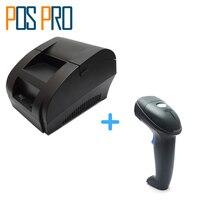 I58TP04 + IPBS052 Gratis Verzending 58mm Thermische Printer Usb-poort, 1D Barcode Scanner, Voor Restaurant, winkelen markt, Magazijn