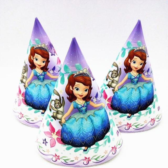 6pcs Adult Happy Birthday Party Princess Sofia Paper Hats Supplies