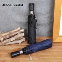 JESSE KAMM New Drop Shop Fully-Automatic Big Two People Large Strong Windproof Anti-UV Black Blue For Women Men Rain Umbrellas