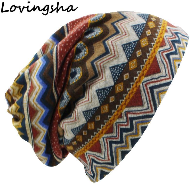 LOVINGSHA Autumn Winter Skullies Beanies Vintage Design Dual-use Women Hats For Ladies Thin Girl Fashion Feminino Scarf HT069