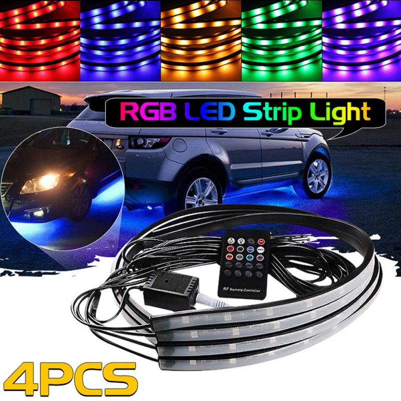 4pcs Car RGB LED Strip Sound Remote Control Light Under LED Strip Lights 7 Colors Tube Underbody System Neon Chassis Light Kit