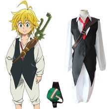 The Seven Deadly Sins Meliodas Cosplay Costume Long Sleeve font b Shirt b font Vest Outfit