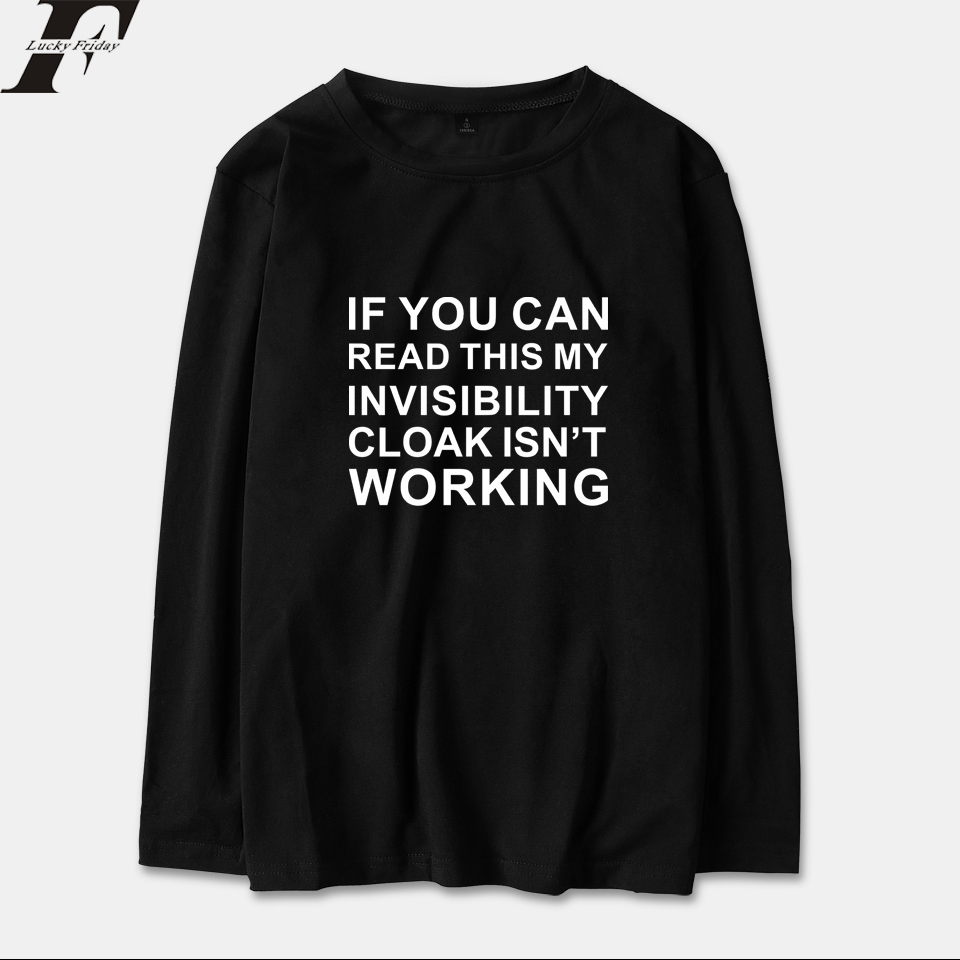 Streetwear Hip Hop T-shirt Invisible Cloak Long Sleeve T Shirt Men/Women Anime Tops Cotton Spring Fashion Letter XXS To 4XL