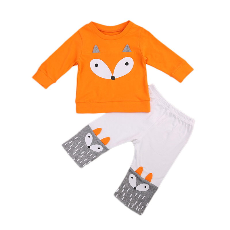 Autumn 2PCS Newborn Baby Fox Clothes Set Newborn Baby Boy Girl Kids Casual Long Sleeve Tops+Pants 2017 New Outfits Clothes Set infant baby boy girl 2pcs clothes set kids short sleeve you serious clark letters romper tops car print pants 2pcs outfit set