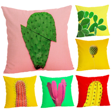 Home Decor Colorful Cactus Printed Cushion Cover Linen  Pillowcase Decorative Throw Pillow Cover for Sofa 45x45 cm Sofa Cushion цены