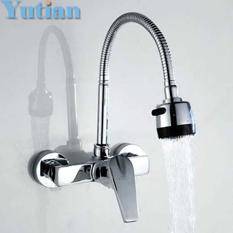 spedizione gratuita in ottone cromato rubinetti per lavello da cucina rubinetto doppio foro della parete miscelatore