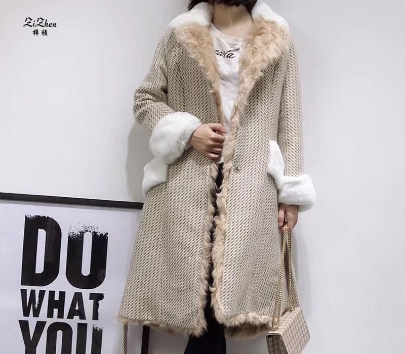 ZiZhen D'hiver de Femmes Long Laine Naturelle Manteau Réel de Fourrure D'agneau Doublure Manteau Poches Avec Ceinture 180808-5