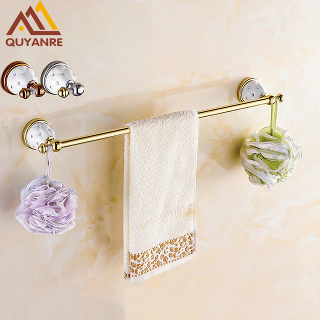 Quyanre Bathroom Hardware Towel Bar With Hooks Gold Chrome Rose Creamic Holder Diamonds