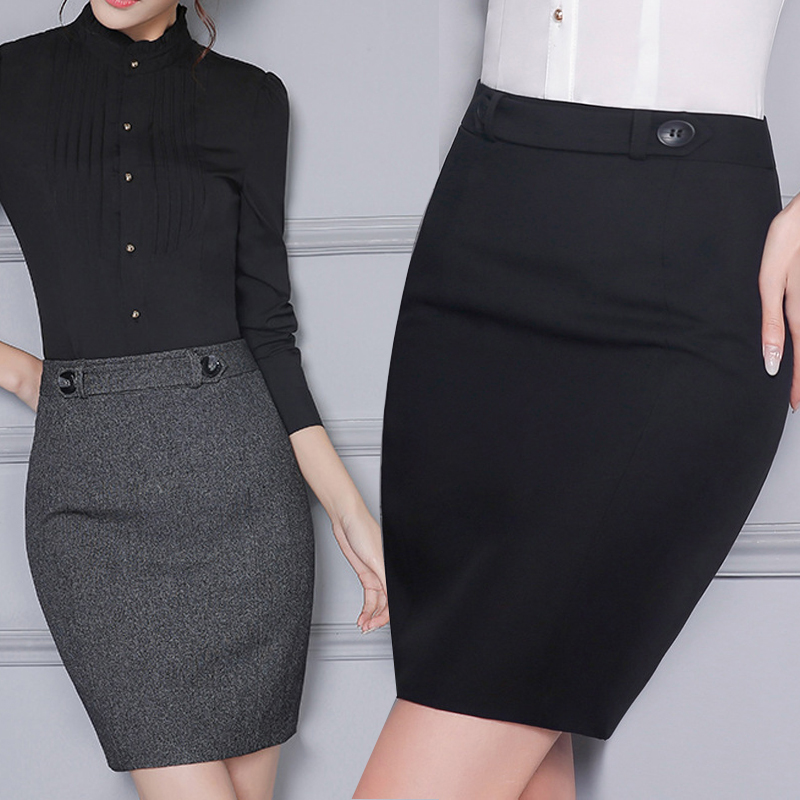2017 Winter Femini Office Slim Skirt Women's Plus size S-4XL Formal Saias Work Business OL Ladies Skirt High Waist Pencil Skirts