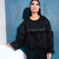 Black punk Beading Faux Fur Spliced Sweatershirt 2017 Women Loose Street Pullover Women Crystal diamond Soft Tops LT439