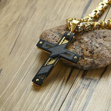 """""""Our Father"""" Stylish Cross Pendant Necklace for Men Stainless Steel Heavy Byzantine Chain Christian Male Jewelry 24"""" inch"""
