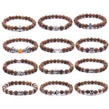 8mm/19cm Wooden Beads Bracelet for Men Natural Buddha wood bracelets Alloy Beaded Strand Wrist Band Male Bracelet fatpig