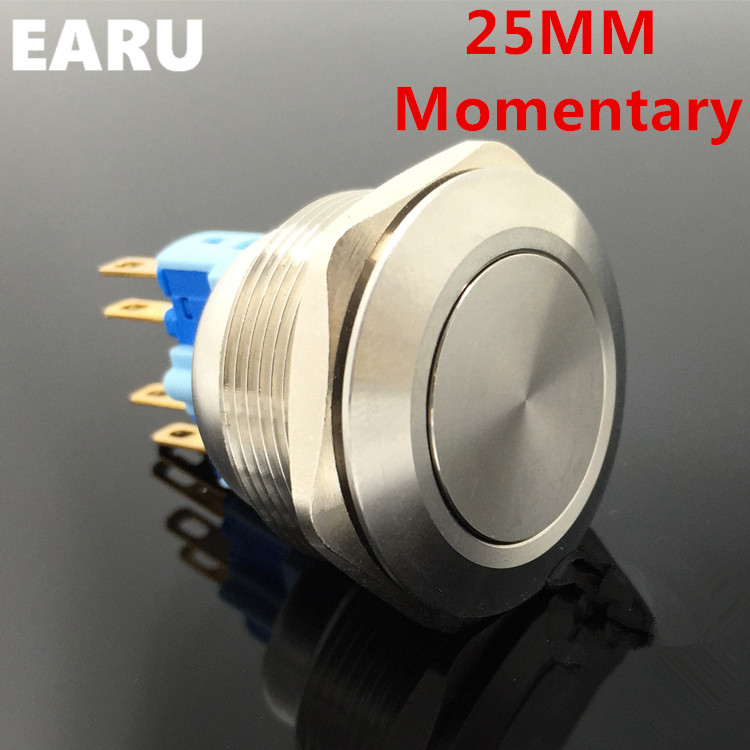 1pc 25mm Metal Stainless Steel Waterproof Momentary Doorebll Bell Horn Push Button Switch Car Auto Engine Start PC Power Start мария 3 стенка мдф