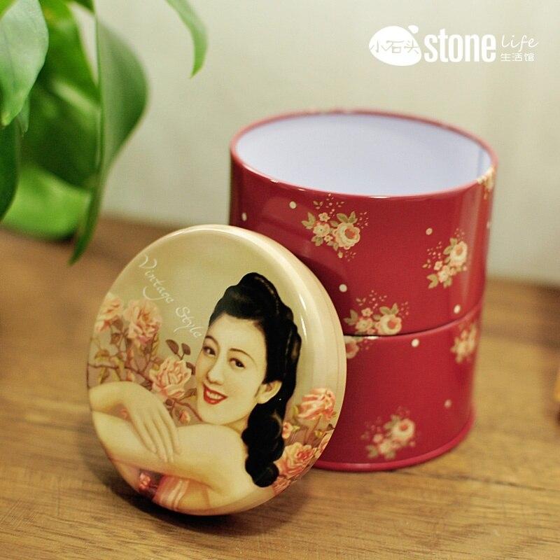 Zakka beauté superposé réservoir de stockage boîte en fer blanc boîte de rangement créativité bijoux thé caddy boîtes de café