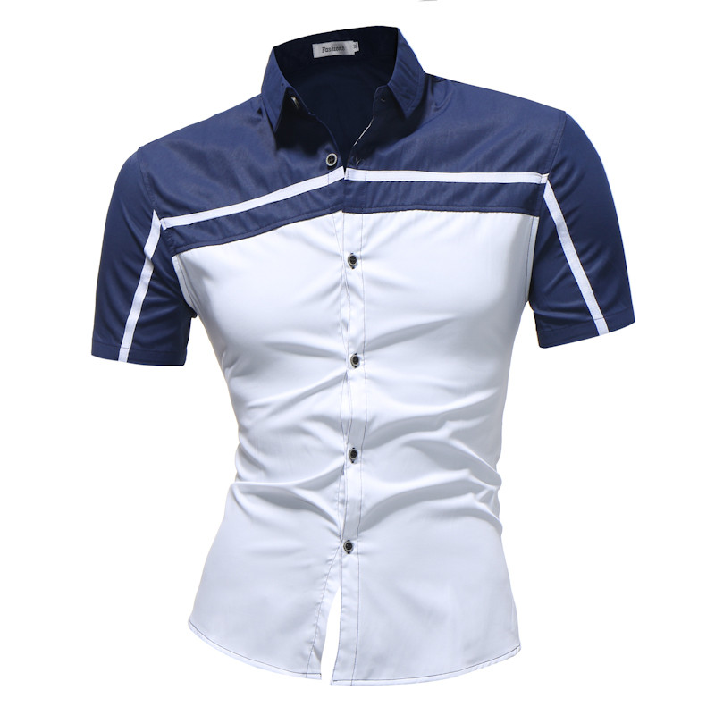 2018 Spring Autumn Features Shirts Men Casual Jeans Shirt New Arrival Short Sleeve Casual Slim Fit Male Shirts
