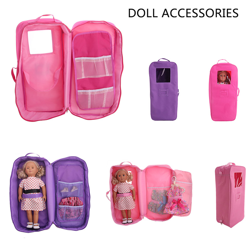 Doll Travel Case Suitcase Storage Bag Wardrobe Accessories Sleeping For 18 inch Girl and boy