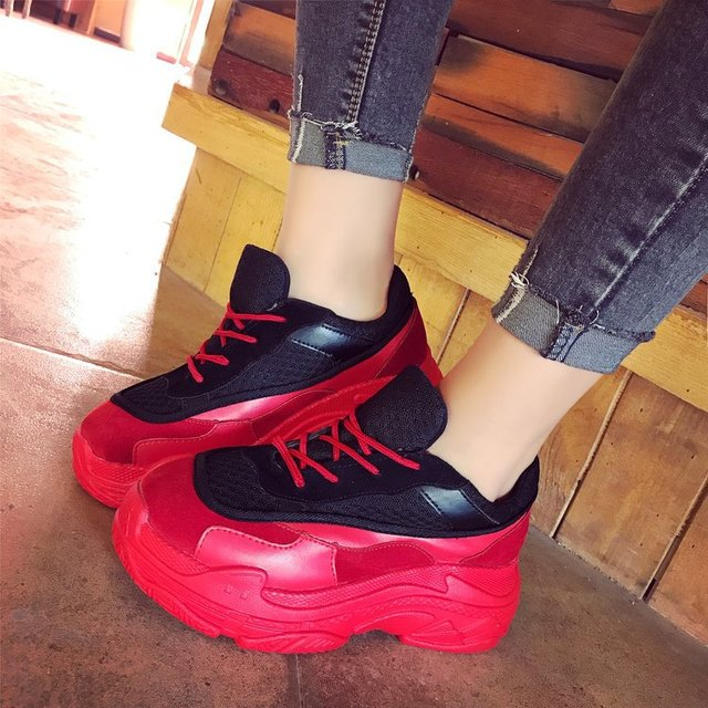 b6bf1dcec5c2 Woman Pumps Women Shoes Wedges Heels Platform Casual Thick Sole Lace Up Heart  Shaped Patent Leather Women Shoes 68