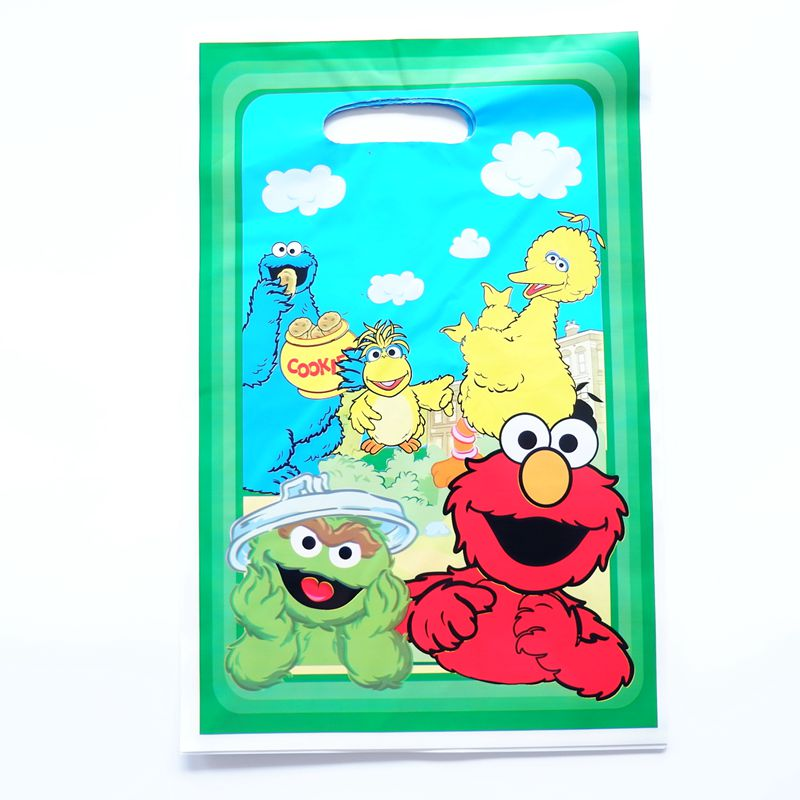 10pcs/lot Cartoon Sesame Street Gift Bag Party Decoration Plastic Candy Bag Loot Bag For Kids Birthday Party Decor Supplies
