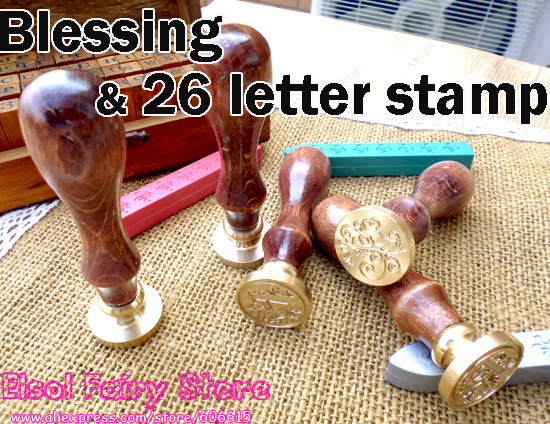 (2pcs/lot) Retro Style Sealing Wax Stamp, Deluxe Gift set 26 alphets + Greeting words for choose, Vintage Decoration seal Stamps 3d laser cut pop up greeting cards happy birthday postcards vintage chic retro peacock thank you gift message cards for girl