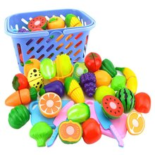 купить 25PCS Children Kitchen Pretend Play Toys Cutting Fruit Vegetable Food Miniature Play Classic Kids Toys Playset Educational Toys дешево