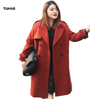 TUHAO Autumn Winter Warm Women Wool Coat 2017 Turn Down Collar Long Casual Office Lady Coat