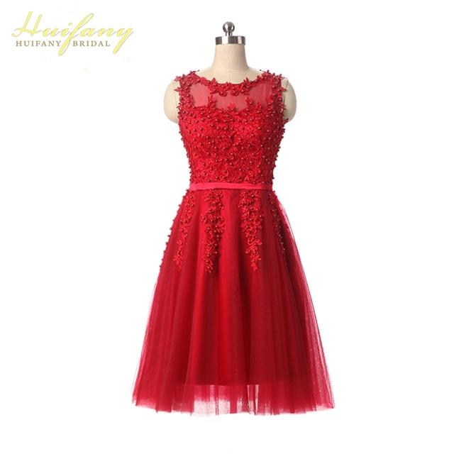 5ca5907aa9 Huifany Mujeres Elegantes Vestidos de Noche Cortos Rojo Rosa Azul de  Longitud de Té Vestidos de