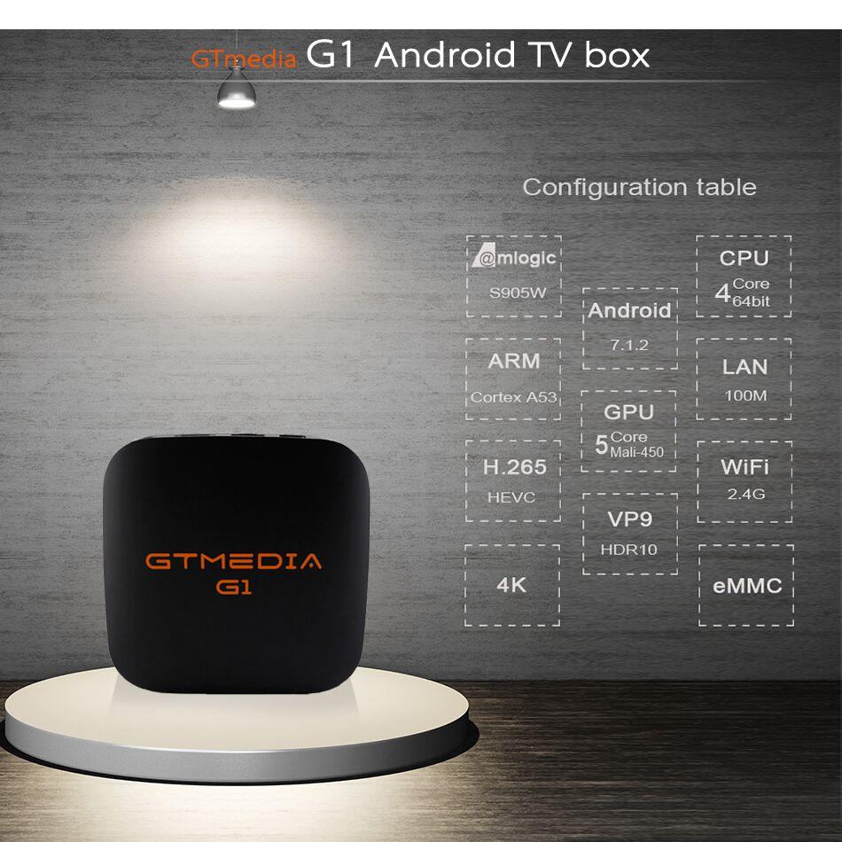 3pcs GTMEDIA G1 Android TV BOX PK X96mini Android 7.1 Smart TV Box 1GB 8GB Amlogic S905W Quad Core 2.4GHz WiFi Set top box IPTV