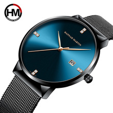 Men Minimalist Blue Watch Stainless Steel Classical Business Top Brand luxury Quartz Waterproof Wristwatches relogio masculino luxury brand switzerland binger tungsten steel men s watch quartz watch beer barrel full steel wristwatches bg 0394 5