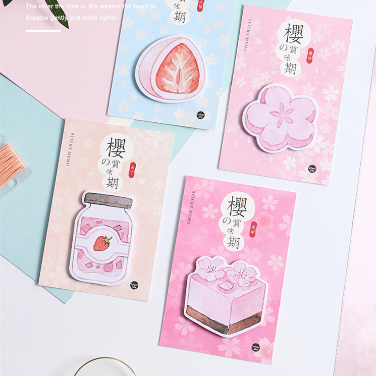 1pcs Memo Pads Sticky Notes Kawaii Sakura's Taste  Paper Notepad Diary Scrapbooking Stickers Office School Stationery Notepads