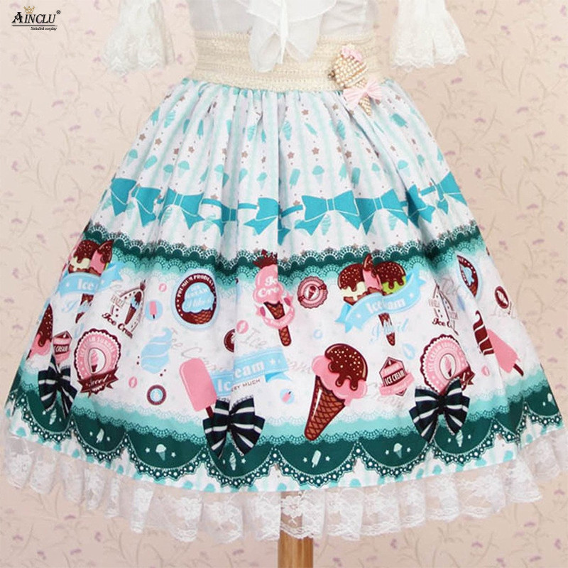 Summer 2018 Lolita Sweet Princess Lace Skirts Womens Polyester Pale Blue Green Vanilla Ice Cream Printed Pleated Lolita Skirts image